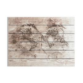 Art for the Home Wood World Map Wall Art