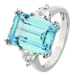 Revere Sterling Silver Emerald Cut Aquamarine Colour Ring
