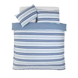 Argos Home Light Blue Striped Bedding Set - Superking