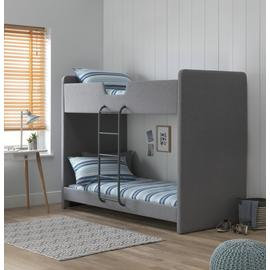 Argos Home Upholstered Grey Bunk Bed & 2 Kids Mattresses