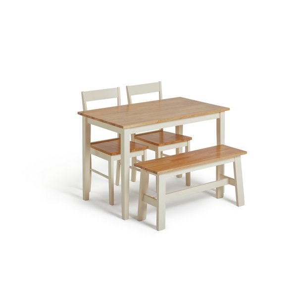 Argos Home Chicago Solid Wood Table Bench 2 Chairs