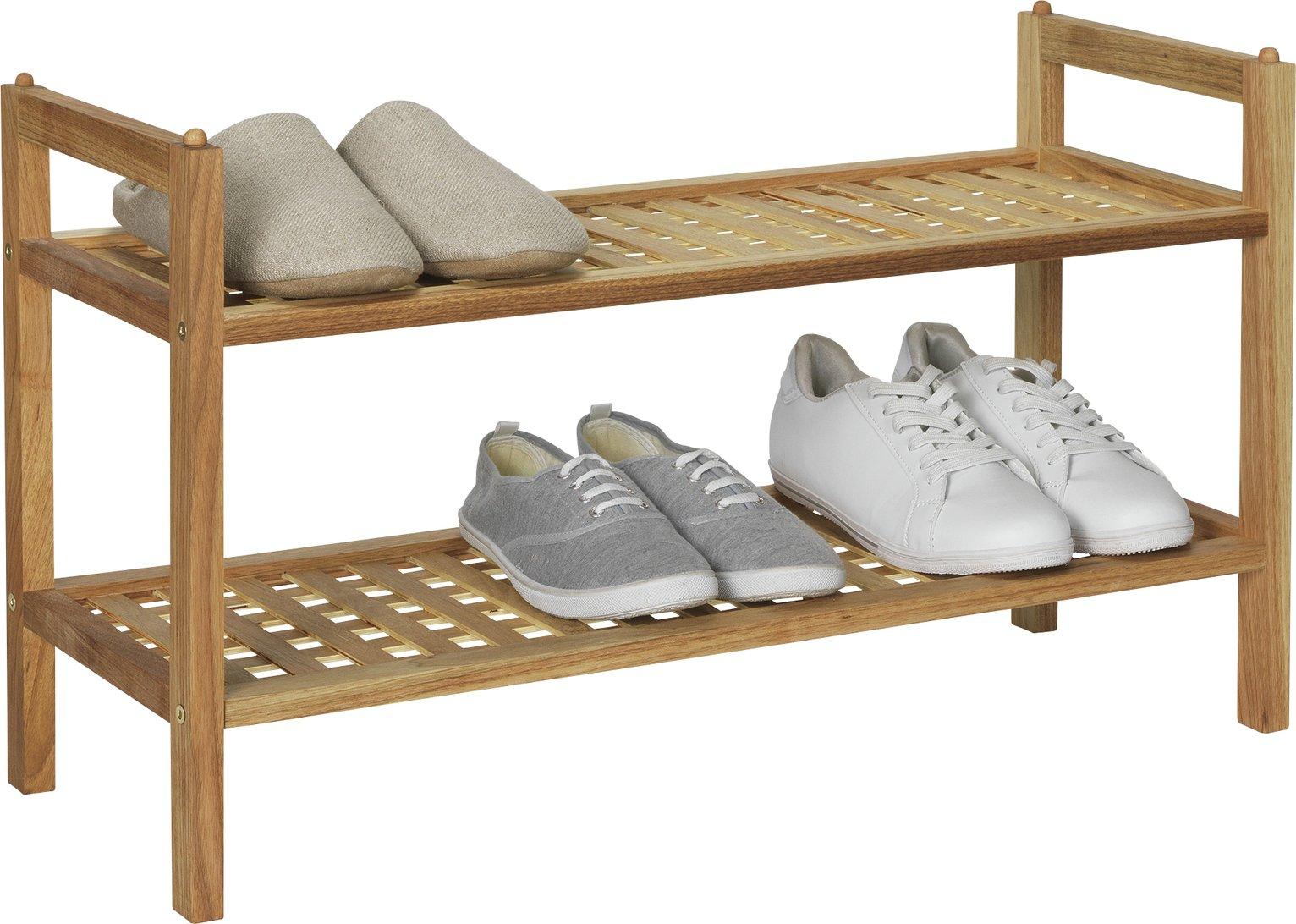collection sherwood 2 shelf stackable shoe storage walnut