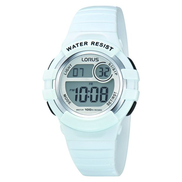 Buy Lorus Mid Size White Digital Sports Watch Ladies Watches Argos