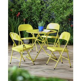 Argos Home Bright 4 Seater Bistro Set - Yellow