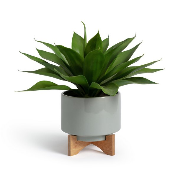 Buy Argos Home Agave Artificial Plant In Ceramic Pot With Stand Artificial Flowers Plants And Trees Argos