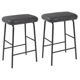 Argos Home Logan Pair of Faux Leather Bar Stools - Black