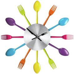 Premier Housewares Coloured Cutlery Wall Clock