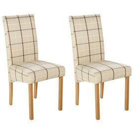 Argos Home Pair of Fabric Skirted Chairs - Cream Check