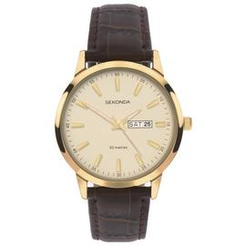 Sekonda Men's Day and Date Display Brown Leather Watch