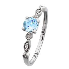 Revere 9ct White Gold Aqua and Diamond Accent Vintage Ring