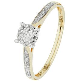 Revere 9ct Gold 0.15ct tw Diamond Set Shoulder Ring