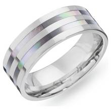 Revere Mens Titanium Mother of Pearl Ring