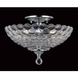Dallas Glass 2 Bulb Semi Flush Light Fitting - Chrome.