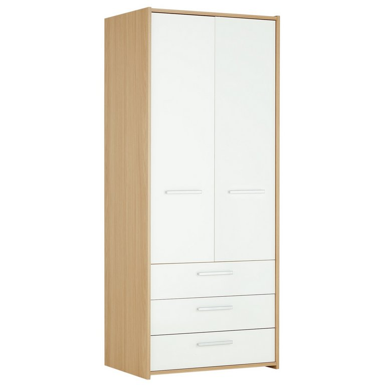 buy home new sywell 2 door 3 drawer wardrobe oak white gloss at argos co uk your