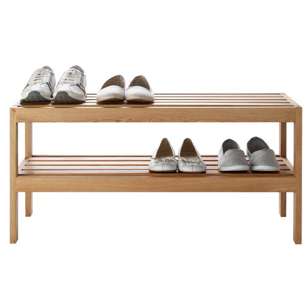 Heart Of House Elmley 2 Shelf Shoe Storage Rack Solid Oak Hallway Argos