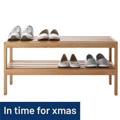 Argos Home Elmley 2 Shelf Shoe Storage Rack - Solid Oak