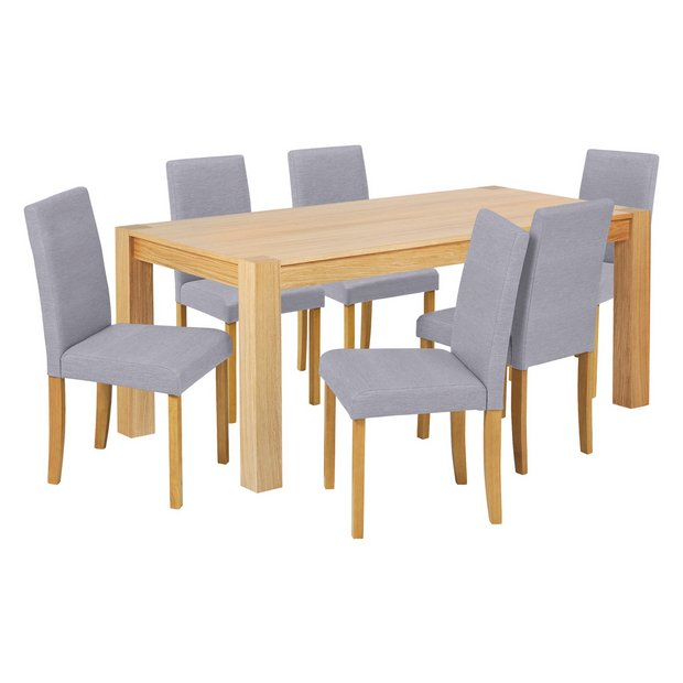 Buy heart of house alston 180cm oak table 6 chairs grey at your online shop Buy home furniture online uk