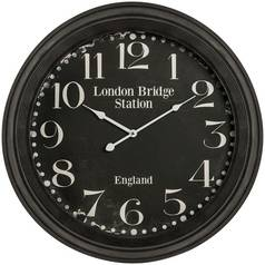 Premier Housewares Black Iron, Glass and Paper Wall Clock