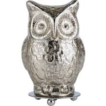 Heart of House Silva Glass Owl Table Lamp - Silver