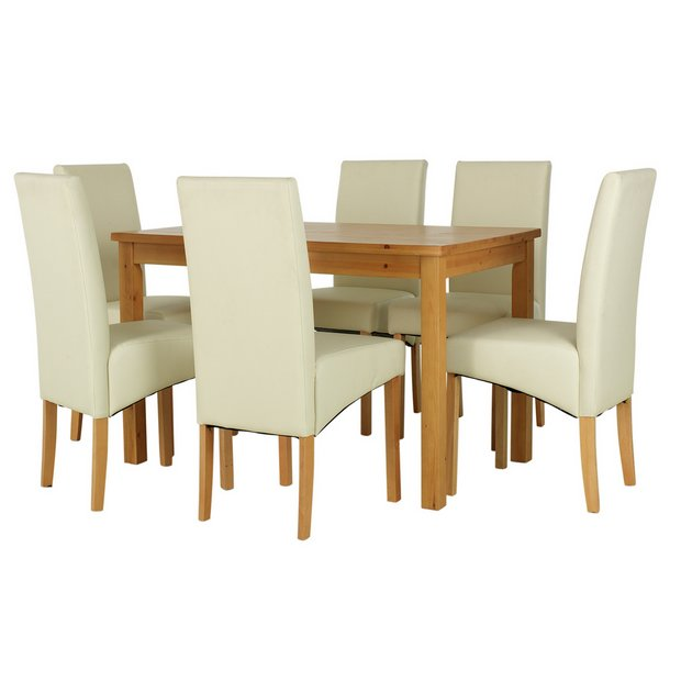 Buy home lincoln solid wood table 6 skirted chairs cream at your online shop Buy home furniture online uk