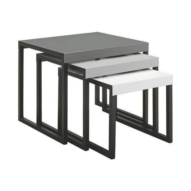 Buy habitat kilo metal nest of tables grey at for 2 tables basses gigognes