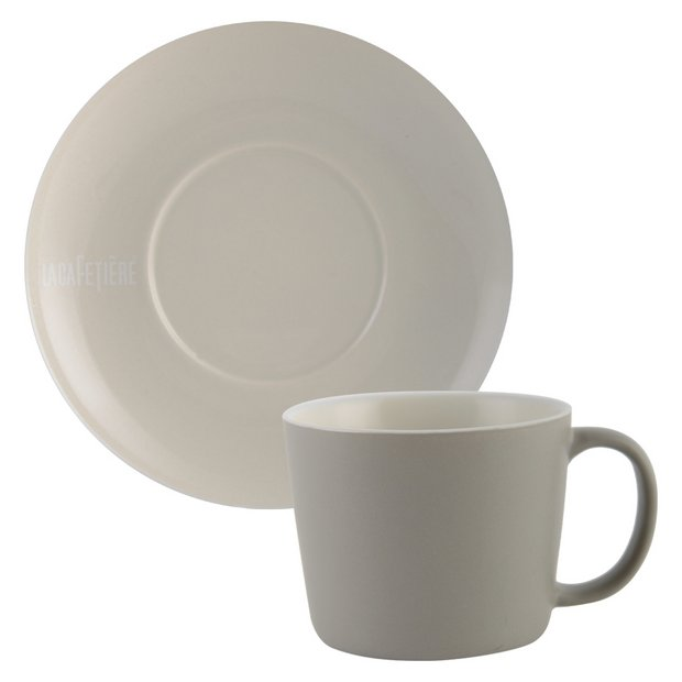 buy la cafetiere taupe cups and saucers set of 2 at argos. Black Bedroom Furniture Sets. Home Design Ideas