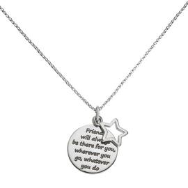 Moon & Back Silver Round Friendship Pendant 18 Inch Necklace
