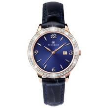 Accurist Ladies' Rose Gold Plated Blue Leather Strap Watch
