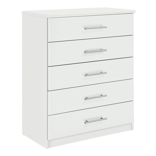 buy home normandy 5 drawer chest white at. Black Bedroom Furniture Sets. Home Design Ideas