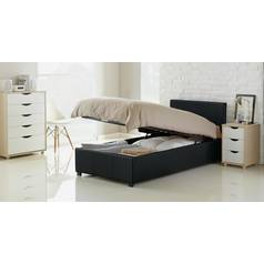 Hygena Lavendon Ottoman Single Faux Leather Bed Frame- Black