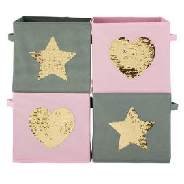 Argos Home Set of 4 Stars Canvas Boxes