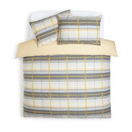 Argos Home Mustard and Grey Check Bedding Set - Double