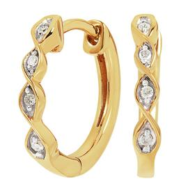 Revere 9ct Gold Plated Diamond Twist Hoop Earrings