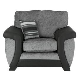 Argos Home Illusion Fabric Cuddle Chair - Black & Grey