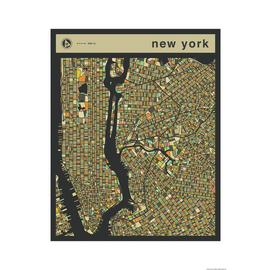 Habitat Jazzberry Blue New York Map Wall Art