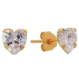 Revere 9ct Yellow Gold Cubic Zirconia Heart Stud Earrings