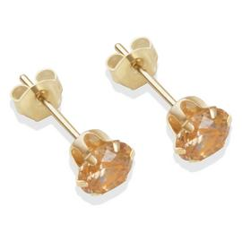 9ct Gold Champagne Cubic Zirconia Stud Earrings - 5mm