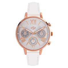 Spirit Ladies Rose Gold Bezel White Strap Watch