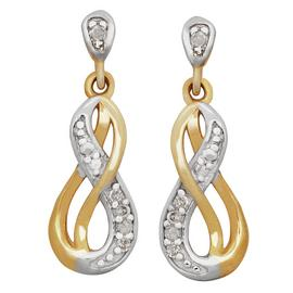 Revere 9ct Gold Diamond Set Drop Earrings