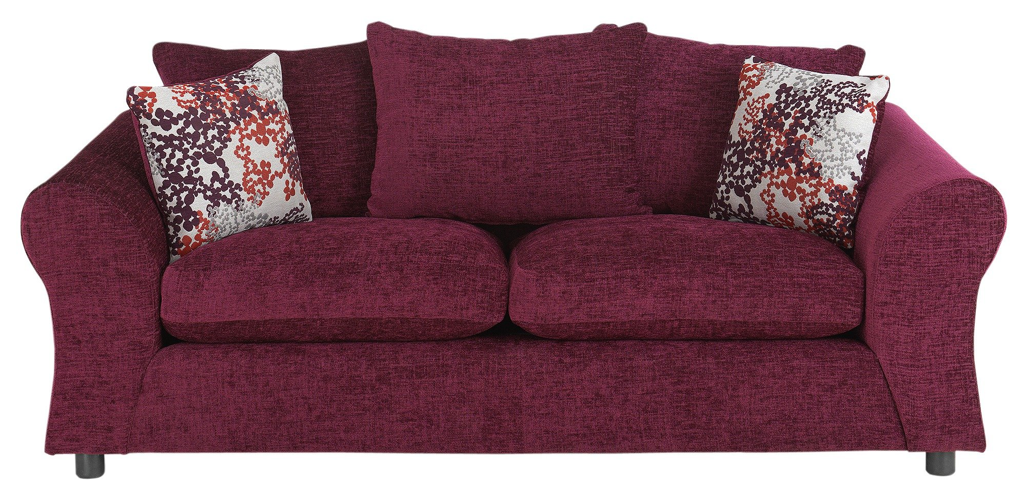 Argos Home New Clara 3 Seater Fabric Sofa   Plum