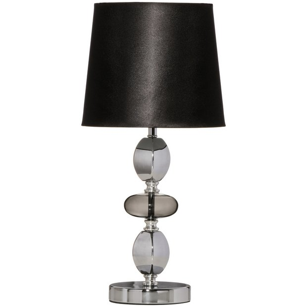 buy isabella smoked glass pebble table lamp at. Black Bedroom Furniture Sets. Home Design Ideas