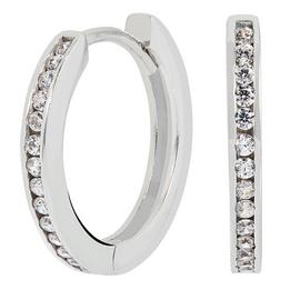 Revere Sterling Silver 10mm Cubic Zirconia Huggie Earrings