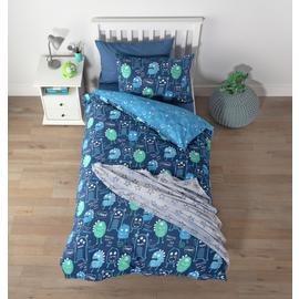 Argos Home Glow in the Dark Monsters Bedding Set - Single