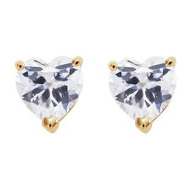 Revere 9ct Gold Heart Cubic Zirconia Earrings