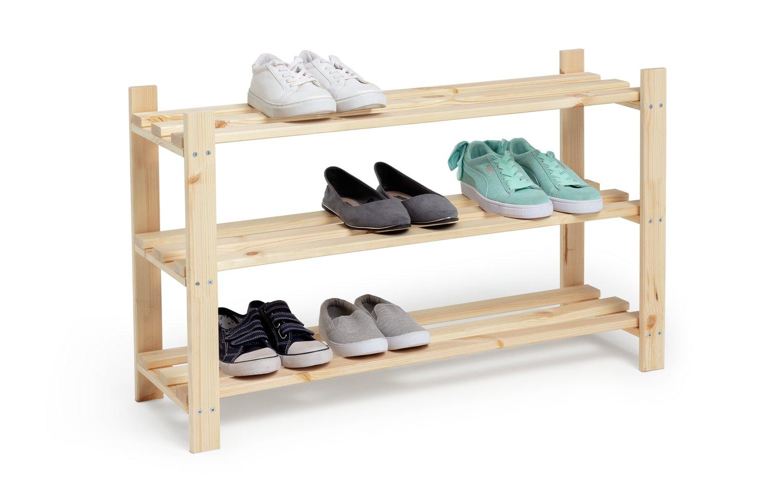home 3 shelf shoe storage rack solid unfinished pine
