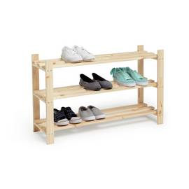 ce94291ce0 Argos Home 3 Shelf Shoe Storage Rack - Solid Unfinished Pine