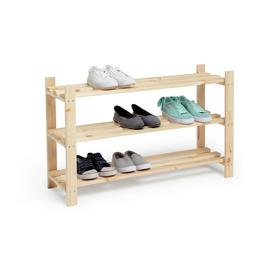 Argos Home 3 Shelf Shoe Storage Rack - Solid Unfinished Pine