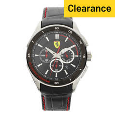 Scuderia Ferrari Gran Premio Men's Black Leather Strap Watch