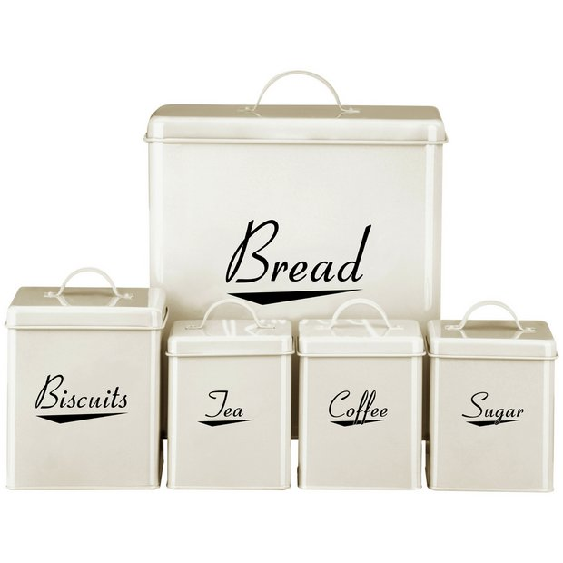 Buy premier housewares 5 piece storage set cream at for Cream kitchen set