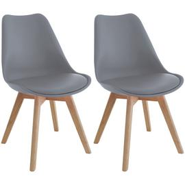 Habitat Jerry Pair of Dining Chairs - Grey
